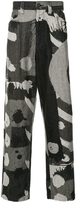 Homme Plissé Issey Miyake Abstract Print Loose Fit Jeans