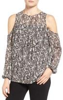 MICHAEL Michael Kors Women's Umbria Lace Print Cold Shoulder Top