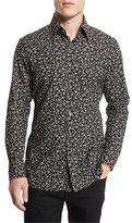 Tom Ford Pansy-Printed Slim Sport Shirt, Black