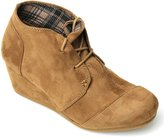 Forever Link Womens Round Toe Lace Up Wedge Heels Suede Ankle Boots Booties (6.5, )