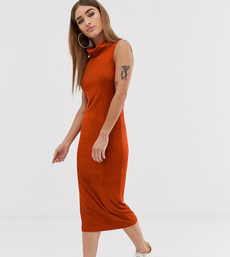 Asos DESIGN Petite midi rib dress with high neck-Orange