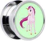 """Body Candy Stainless Steel Pink Magical Unicorn Screw Fit Double Flare Plug Pair 9/16"""""""