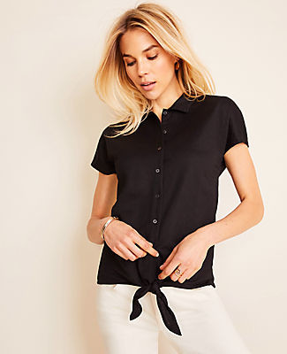 Ann Taylor Tie Front Button Down Top