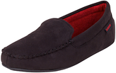 Totes Suedette Moccasin Slippers, Black