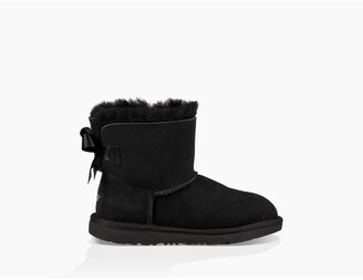 UGG Kids Mini Bailey Bow II Fur-Lined Suede Ankle Boots