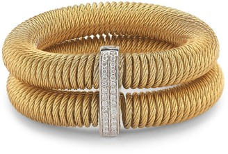 Alor Kai 18K White Gold & Yellow-Tone Stainless Steel Diamond Tiered Coiled Bangle Bracelet