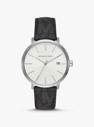 Michael Kors Blake Logo and Silver-Tone and Watch - Black