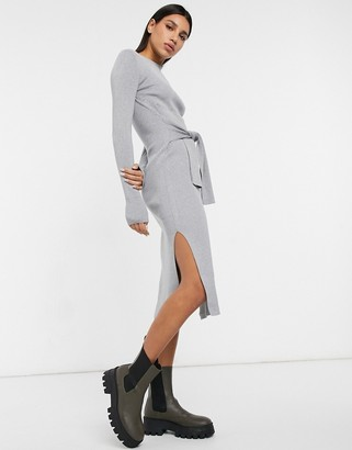 And other stories & tie waist knitted midi dress in grey melange