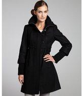 DKNY black wool blend 'Bethany' rib collar babydoll coat