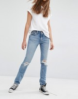 Levi's Levis 505 High Waist Straight Leg Jeans With Rips