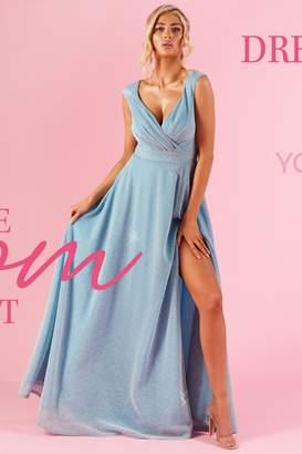 Quiz Sky Blue Glitter Wrap Sleeveless Maxi Dress