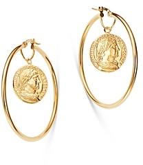 Bloomingdale's Coin Hoop Earrings in 14K Yellow Gold - 100% Exclusive