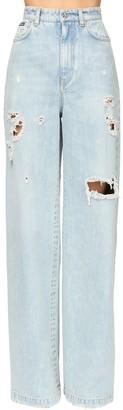 Dolce & Gabbana Distressed Wide Leg Cotton Denim Pants