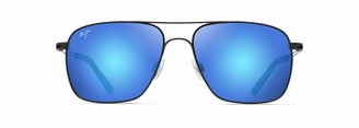 Maui Jim Haliewa B328-02 | Polarized Gloss Black Aviator Frame Sunglasses Blue Hawaii Lenses with Patented PolarizedPlus2 Lens Technology