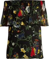 Tibi Seville-print off-the-shoulder silk top