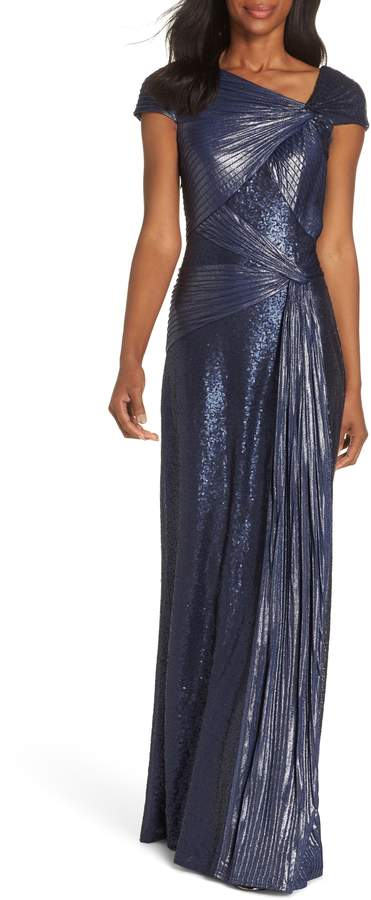 Tadashi Shoji Pintuck Sequin Gown