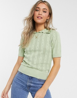 Monki Tonja organic cotton knitted top in green