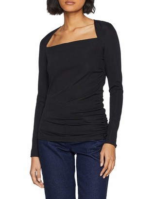 Lost Ink Women's Top with Square Neck and Drawcord Detail Long Sleeve
