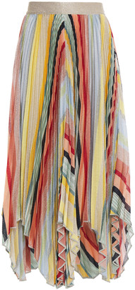 Missoni Asymmetric Pleated Metallic Knitted Skirt