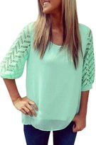 KOINECO Women's Lined Cut Out Open Back Lace Tops Blouses