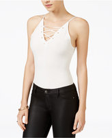 Material Girl Juniors' Lace-Up Thong Bodysuit, Only at Macy's