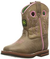 John Deere Inf Light Brn W/Pink Stitch PO Pull-On Boot