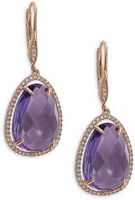 Saks Fifth Avenue 14K Rose Gold, Amethyst Diamond Leverback Earrings