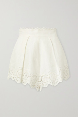 Zimmermann Bellitude Scalloped Broderie Anglaise Linen Shorts