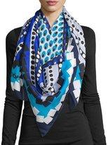 Diane von Furstenberg Silk Square Dot Bands Scarf, Blue