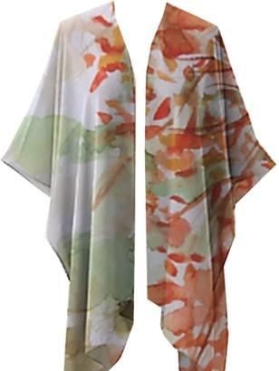 Abstudio Abramovich Patricia Fall Leaves Green & Orange Kimono Top