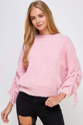 Cotton Candy Fuzzy Tie Sweater