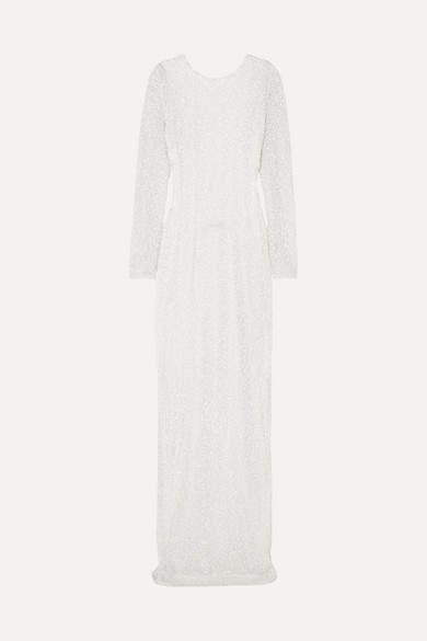 Balmain Open-back Embellished Chiffon Gown - White