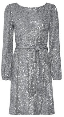 Dorothy Perkins Womens Silver Sequin Belted Fit And Flare Dress, Silver
