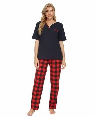 Unifizz Women Pyjama Sets Short Sleeve V Neck Top & Bottoms Pjs Plaid Trousers Soft Lounge Wear Nightwear Sleepwear 2-Piece Sleepwear Sets