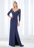 Mon Cheri Cameron Blake - 118672 Quarter Sleeve Front Twist Chiffon Evening Gown