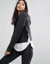 Noisy May Knit and Shirt Combo Sweater