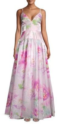 Flor Et. Al Miller Floral Satin Gown