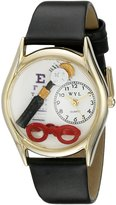 Whimsical Watches Women's C0610015 Classic Gold Opthamologist Black Leather And Goldtone Watch