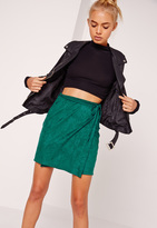 Missguided Faux Suede Wrap Around Mini Skirt Green