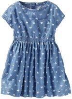 Osh Kosh Toddler Girl Chambray Heart Print Dress