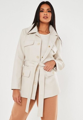 Missguided Oversized Faux Leather Belted Jacket
