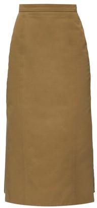 Alexander McQueen Pleated-back Canvas Pencil Skirt - Khaki