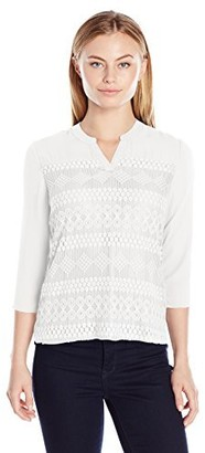 Notations Women's 3/4 Sleeve Henley Lace Top