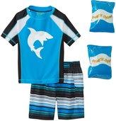 Jump N Splash Toddler Boy's Shark Attack TwoPiece Rashguard Set w/ Free Floaties (2T-3T) - 8143081