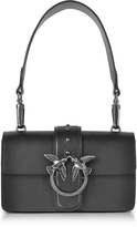 Pinko Mini Love Black Matte Leather Shoulder Bag
