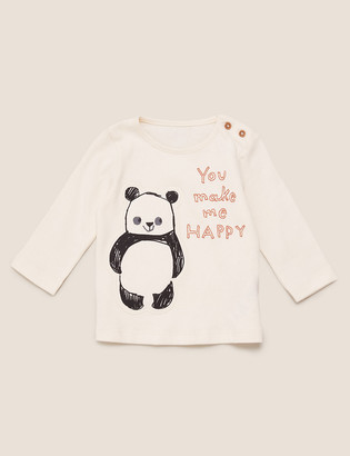 Marks and Spencer Pure Cotton Panda Long Sleeve Top (0-3 Yrs)