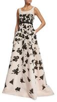Oscar de la Renta Sleeveless Painted Sequin Silk Faille Gown, Rose