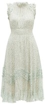 Rebecca Taylor Ikat Leaf Silk And Cotton-blend Midi Dress - Womens - Light Green