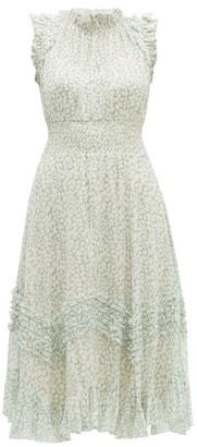 Rebecca Taylor Ikat Leaf Silk And Cotton-blend Midi Dress - Womens - Light Green
