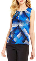 Kasper Abstract Printed Round Pleated Neck Cami